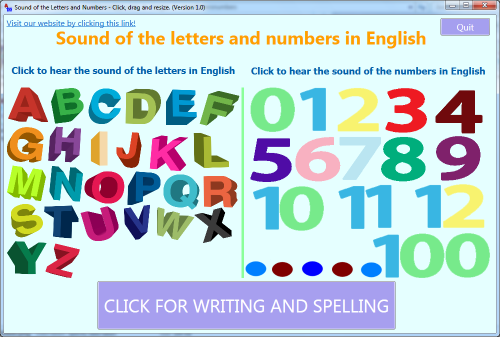 Sounds of the letters and numbers in English